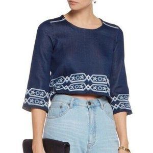 Maje Mathieu Jacquard Knit Cropped Sweater